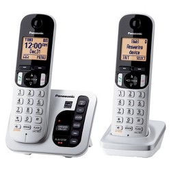 Panasonic DECT 6.0 Plus Cordless Phone System (KX-TGC222S) with Answering Machine - Silver