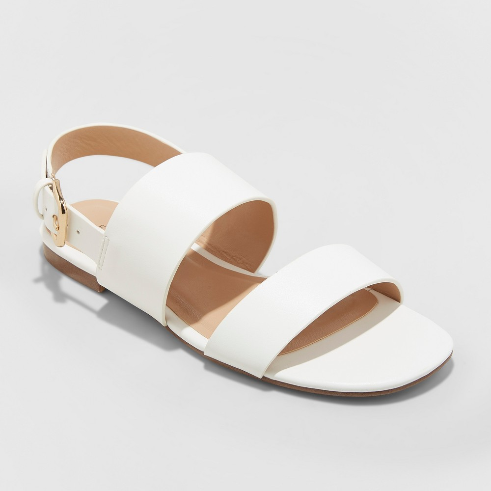 Women's Sabrina Two Band Buckle Slide Sandals - A New Day White 7