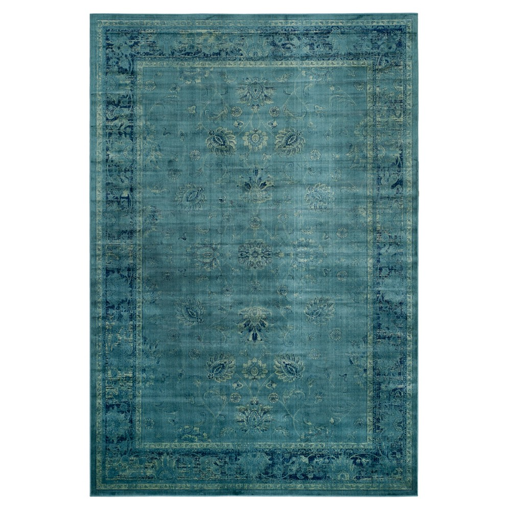 Turquoise Floral Loomed Area Rug 7'6