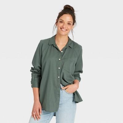 Women's Raglan Long Sleeve Button-Down Shirt - Universal Thread™