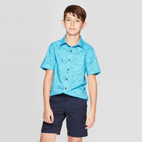 Boys' Shark Print Short Sleeve Button-Down Shirt - Cat & Jack™ Turquoise - image 1 of 3