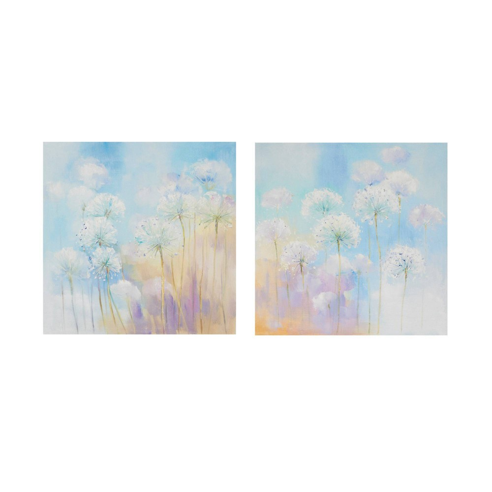 Image of 2pc Dandelion Garden Printed Canvas with Gel Coat