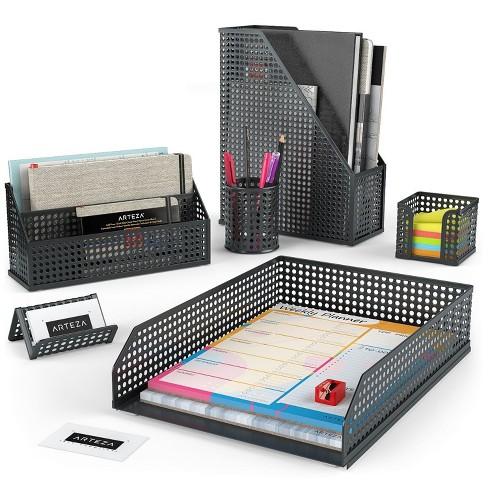 Arteza Desk Organizer, Black Mesh, for Office, Home, Classroom, or Back to School - 6 Piece Set (ARTZ-8946) - image 1 of 4