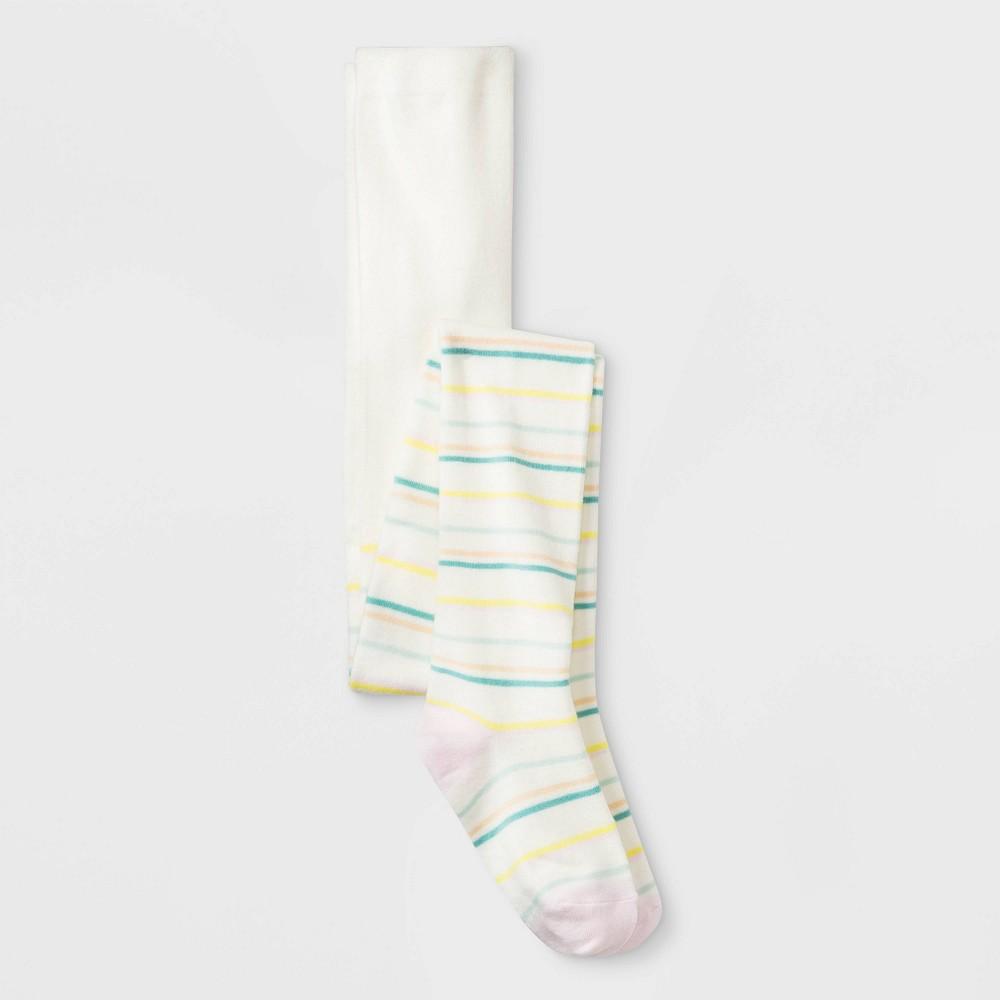 Girls' Fun Stripes Sweater Knit Full Tight - Cat & Jack White S