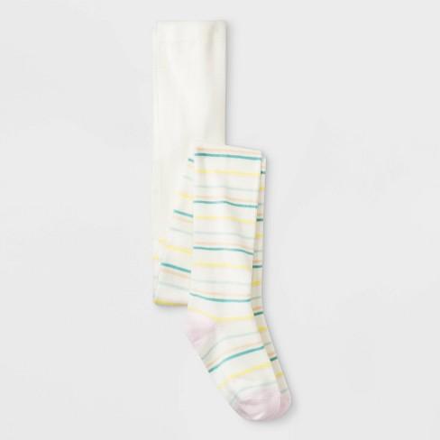 Girls' Fun Stripes Sweater Knit Full Tight - Cat & Jack™ White - image 1 of 1