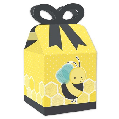 Big Dot of Happiness Honey Bee - Square Favor Gift Boxes - Baby Shower or Birthday Party Bow Boxes - Set of 12