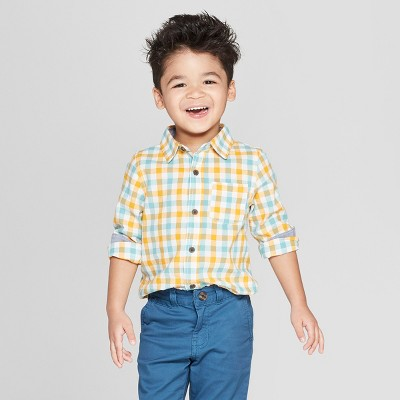Toddler Boys' Plaid Long Sleeve Button-Down Shirt - Cat & Jack™ Yellow/Blue 12M