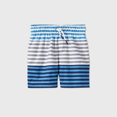 Toddler Boys' Colorblock Striped Swim Trunks - Cat & Jack™ Blue/Gray
