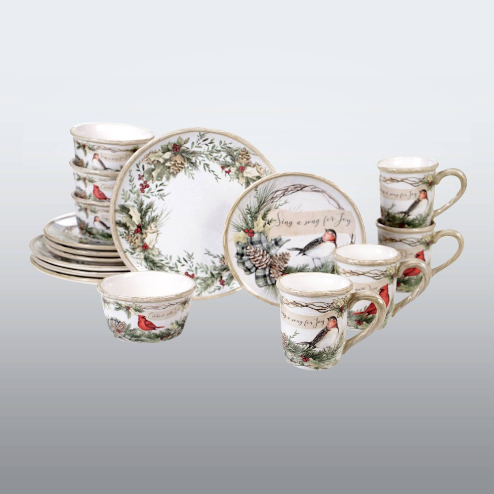 Image of 16pc Earthenware Holly and Ivy Dinnerware Set White - Certified International, White Green