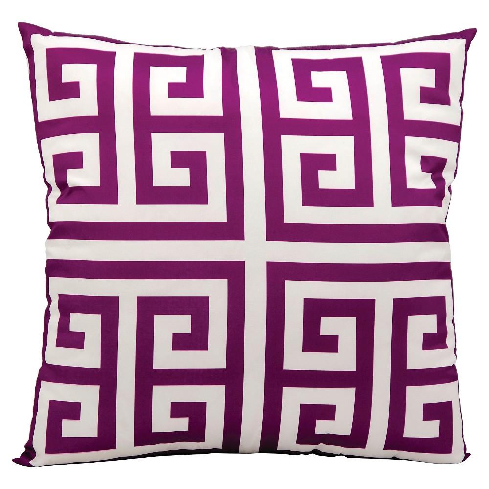 "Image of ""Lilac (Purple) Greek Key Indoor/Outdoor Throw Pillow (20""""x20"""") - Nourison"""