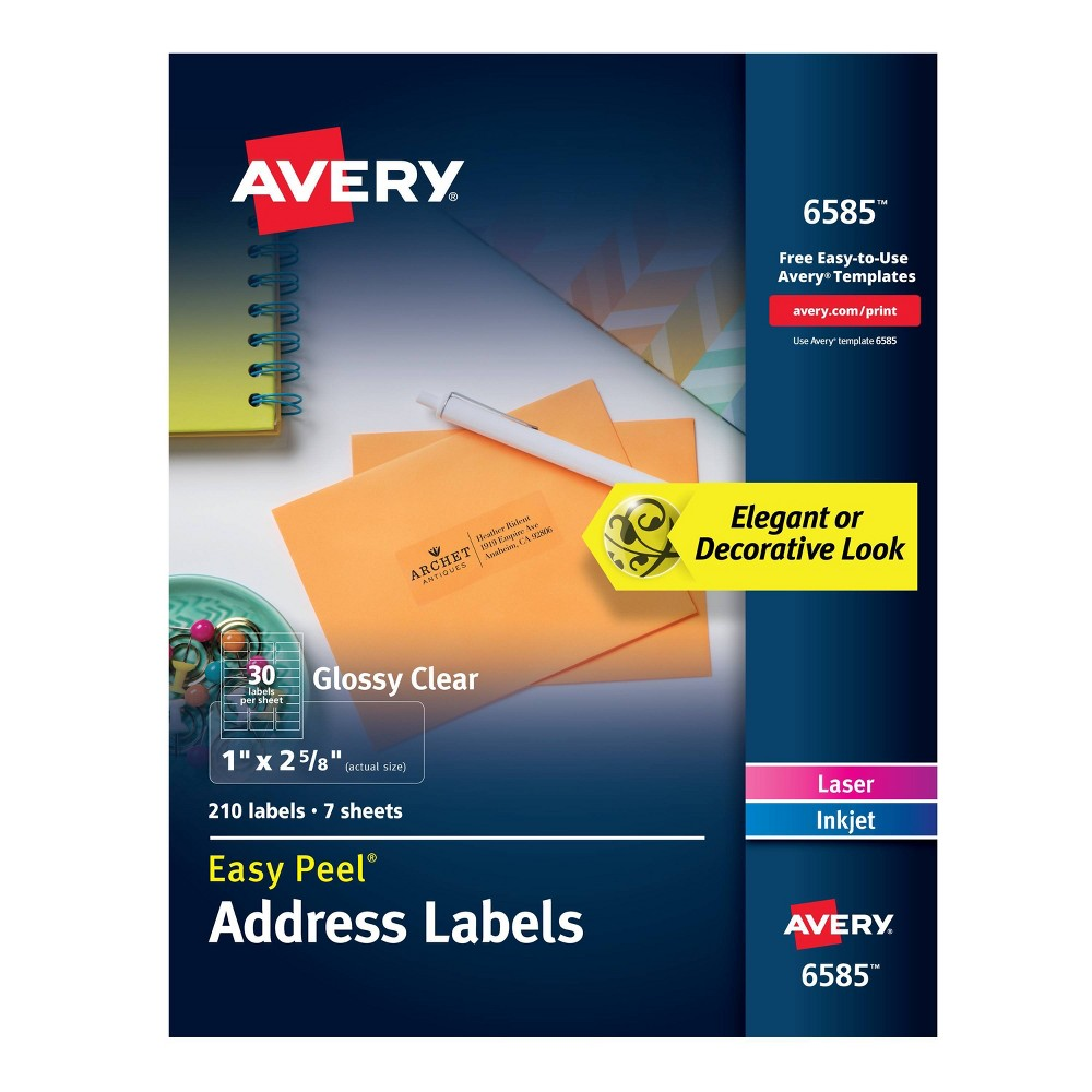 "Image of ""Avery 1"""" x 2 5/8"""" 210ct Labels Glossy Clear Easy Peel Address Labels"""