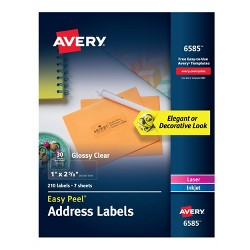 "Avery 1"" x 2 5/8"" 210ct Labels Glossy Clear Easy Peel Address Labels"