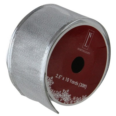 """Northlight Pack of 12 Gray and Silver Wired Christmas Craft Ribbons 2.5"""" x 120 Yards"""