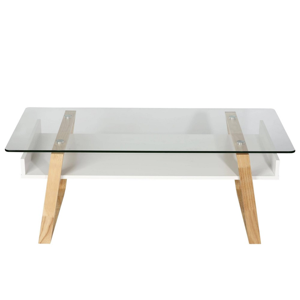 Image of Corona Mid Century Glass Top Coffee Table Natural - Edgemod