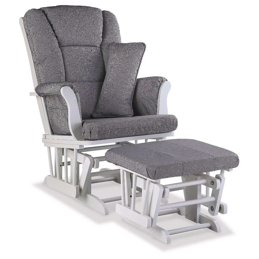 Stork Craft Tuscany White Glider and Ottoman - Slate Gray Swirl