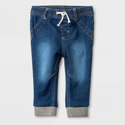 Baby Medium Wash Knit Repreve Denim Jeans - Cat & Jack™ Blue - image 1 of 2