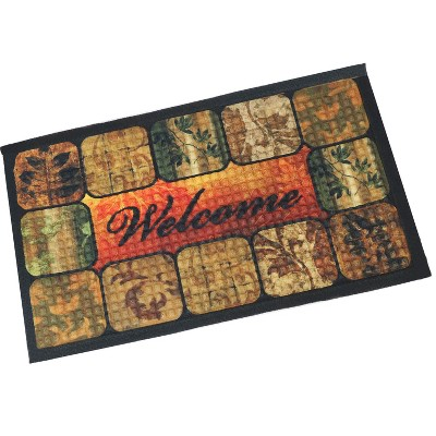 """1'5""""x2'5"""" Rectangle Pressed or Molded Floral Accent Rug Brown - Sunnydaze Decor"""