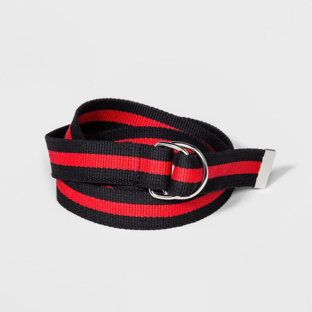 Women's Striped Webbing D-Ring Belt - Wild Fable XS, Black