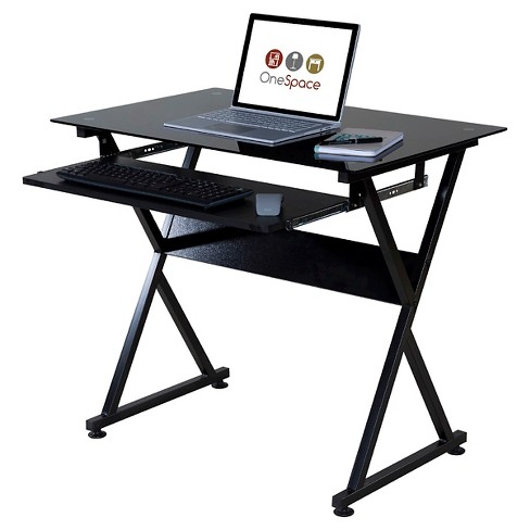 Ultramodern Glass Computer Desk Pull Out Keyboard Steel Frame Onespace