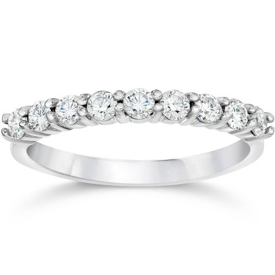 Pompeii3 1/2ct Diamond Wedding Ring Half Eternity Wedding Band 14K White Gold