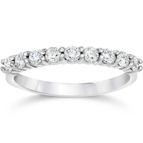 Pompeii3 1/2ct Diamond Wedding Ring Half Eternity Wedding Band 14K White Gold - image 1 of 4