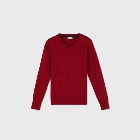 Boys' V-Neck Sweater - Cat & Jack™ Red - image 1 of 2