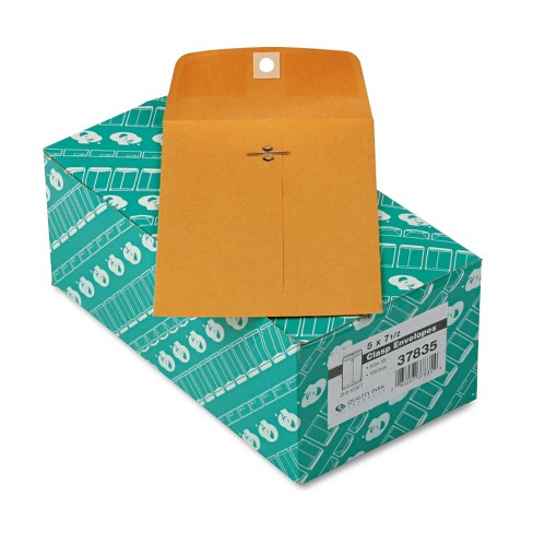Quality Park Clasp Envelope 5 x 7 1/2 28lb Brown Kraft 100/Box 37835 - image 1 of 1