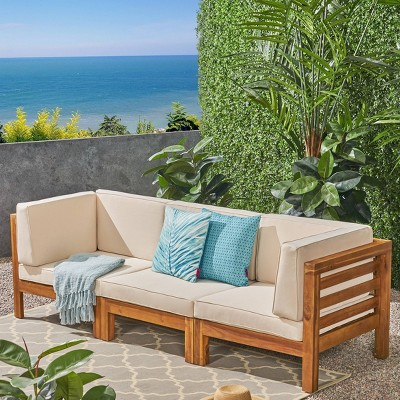 Oana 3pc Acacia Wood Patio Modular Sofa - Christopher Knight Home