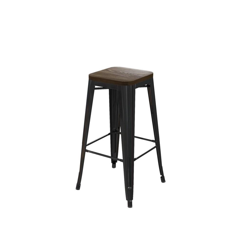 Set of 2 30 Fiora Metal Bar Stool With Wood Seat Black - Room & Joy