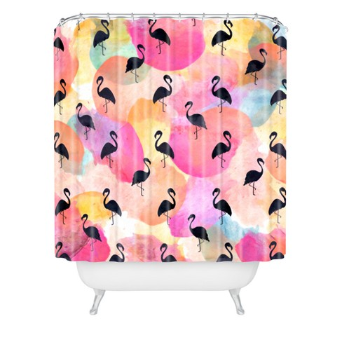 Hello Sayang Dance Like A Flamingo Shower Curtain Pink - Deny Designs - image 1 of 2