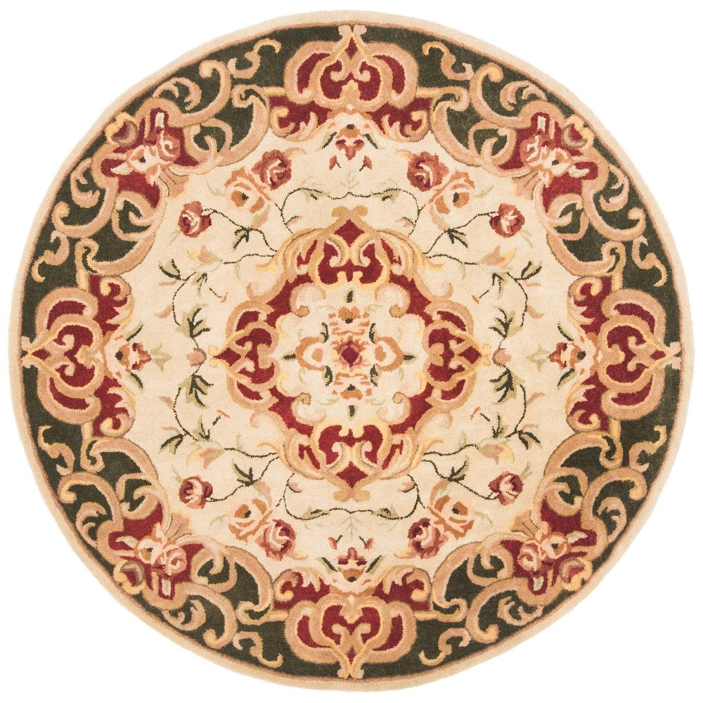 Ivory/Green Abstract Tufted Round Area Rug - (6' Round) - Safavieh