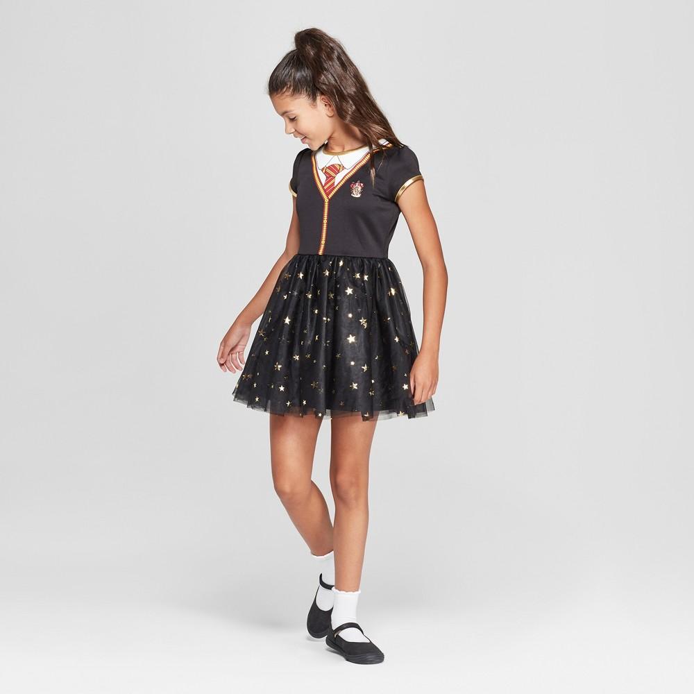 Girls' Harry Potter Short Sleeve Cosplay Dress - Black Xxl