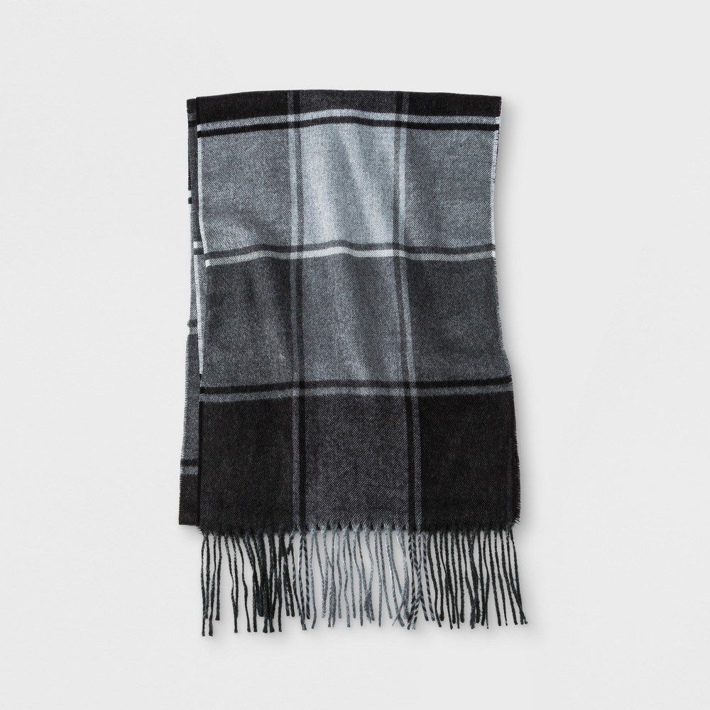 Men's Colorblock Brushed Fringe Wrap Scarf - Goodfellow & Co Black One Size