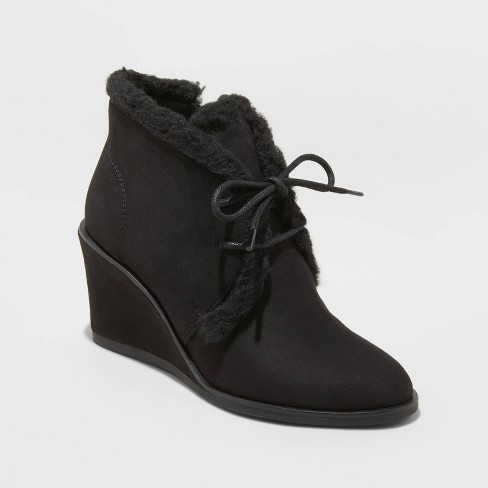 Women's Heather Faux Sherpa Wedge Fashion Boots - Universal Thread™ - image 1 of 3