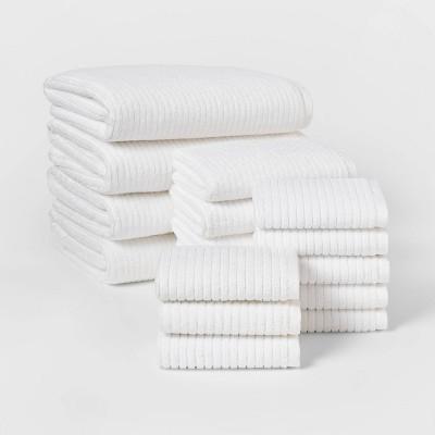 16pk Quick Dry Bath Towel Starter Bundle White - Threshold™