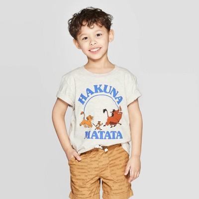 Toddler Boys' The Lion King Hakuna Matata Short Sleeve T-Shirt - Beige 3T