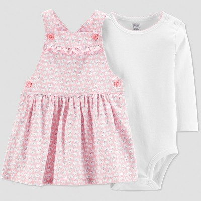 Baby Girls' 2pc Elephant Overall Dress Set - Just One You® made by carter's Pink/White 3M