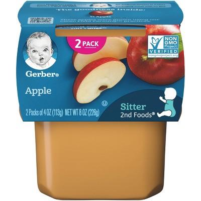 Gerber Sitter 2nd Foods Apples Baby Meals Tubs - 2ct/4oz Each
