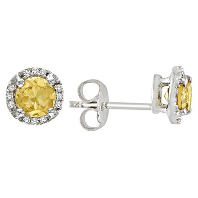 Citrine and Diamond Earrings in Sterling Silver - Yellow