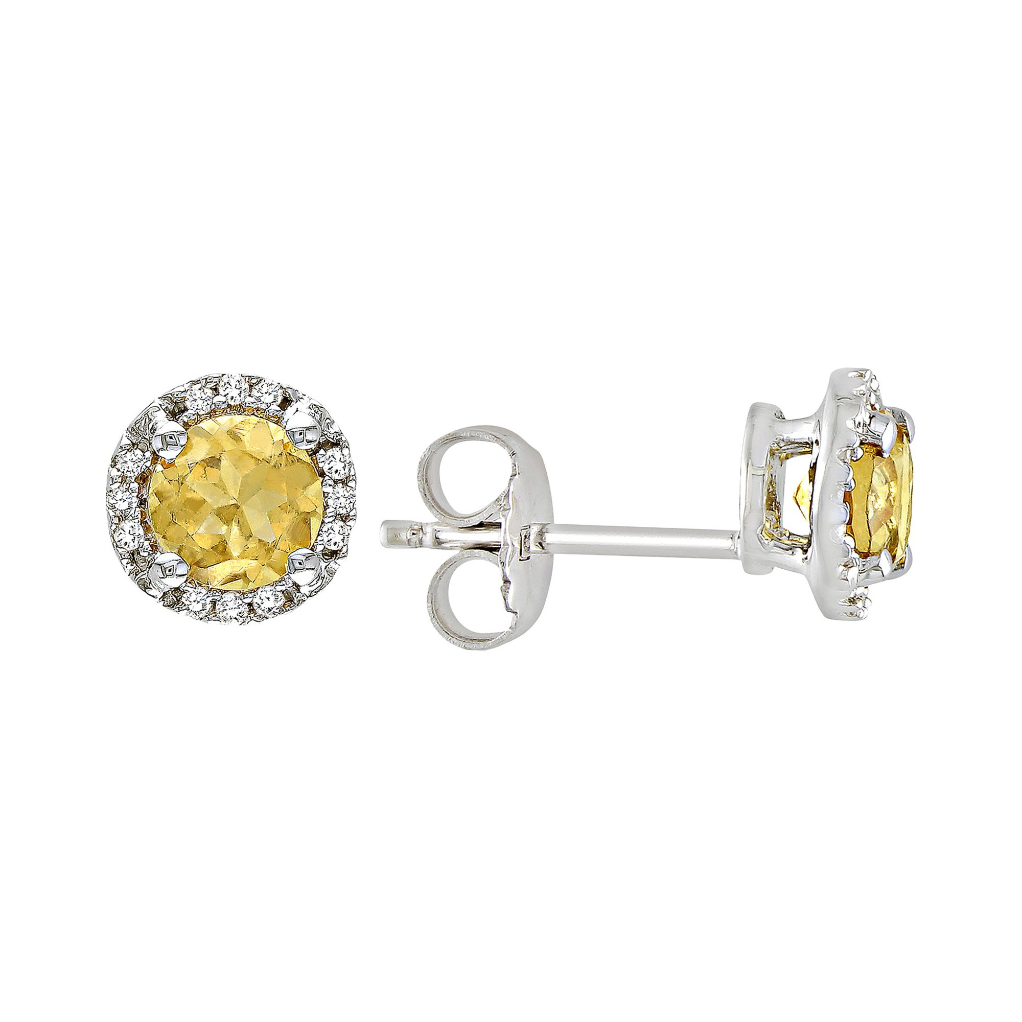 Citrine and Diamond Earrings in Sterling Silver - Yellow, Women's