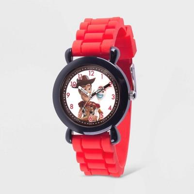 Kids' Disney Toy Story 4 Woody Black Plastic Time Teacher Watch - Red