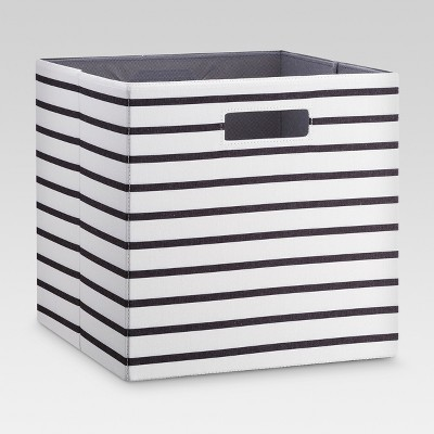 Fabric Cube Storage Bin White/Black Stripe 13  - Threshold™