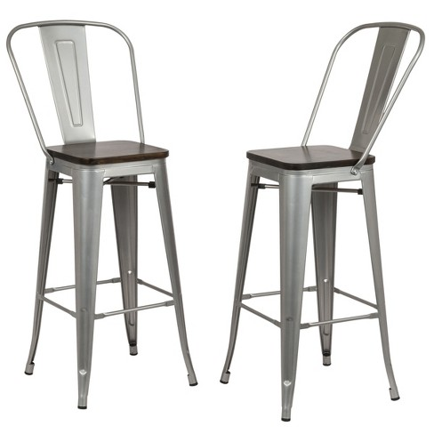 30 Reed Square Bar Stool Set Of 2 Silver Carolina Chair And Table