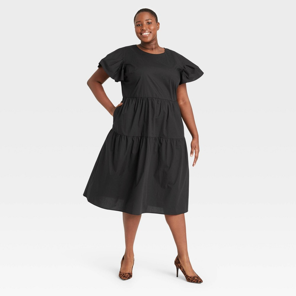Women 39 S Plus Size Flutter Short Sleeve A Line Dress Who What Wear 8482 Black 4x