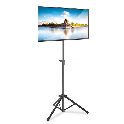 Pyle Foldable Portable Adjustable Height 360 Degree Tilt Steel Tripod Flatscreen TV Stand for Televisions Up to 32 Inches, Black