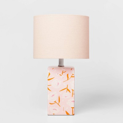 Floral Base Lamp with Cylinder Shade Pink - Pillowfort™