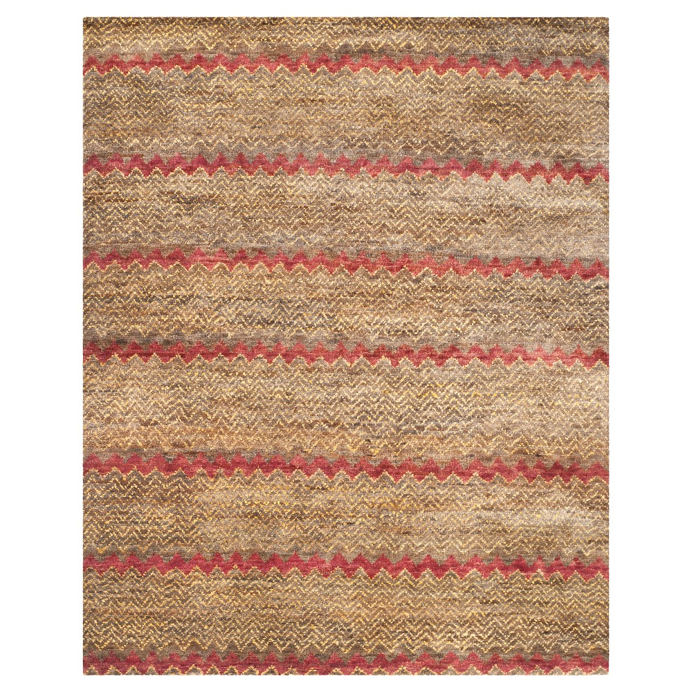 Brown/Gold Stripe Knotted Area Rug - (8'X10') - Safavieh