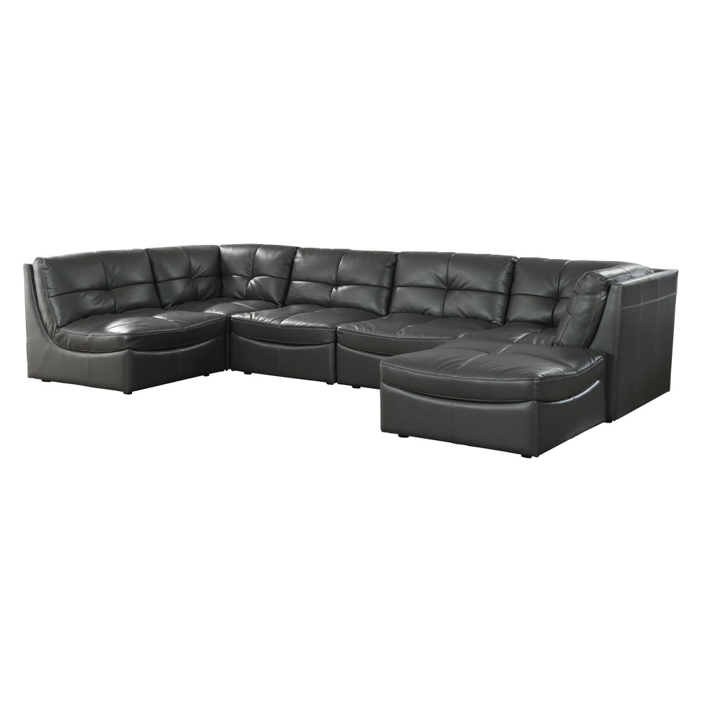 Iohomes Lazaro Contemporary Leather Gel Tufted Sectional Gray - Homes: Inside + Out