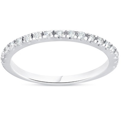 Pompeii3 1/4ct Diamond Ring Stackable Engagement Womens Wedding Band 10K White Gold