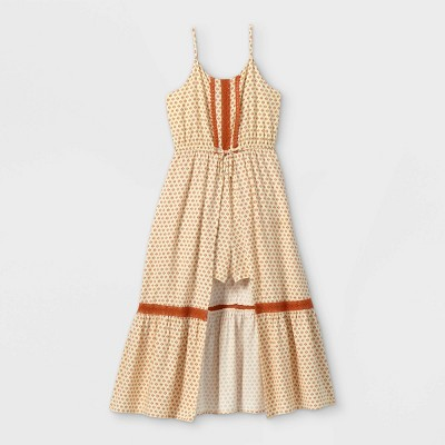 Girls' Walk-Through Lace Sleeveless Romper - art class™